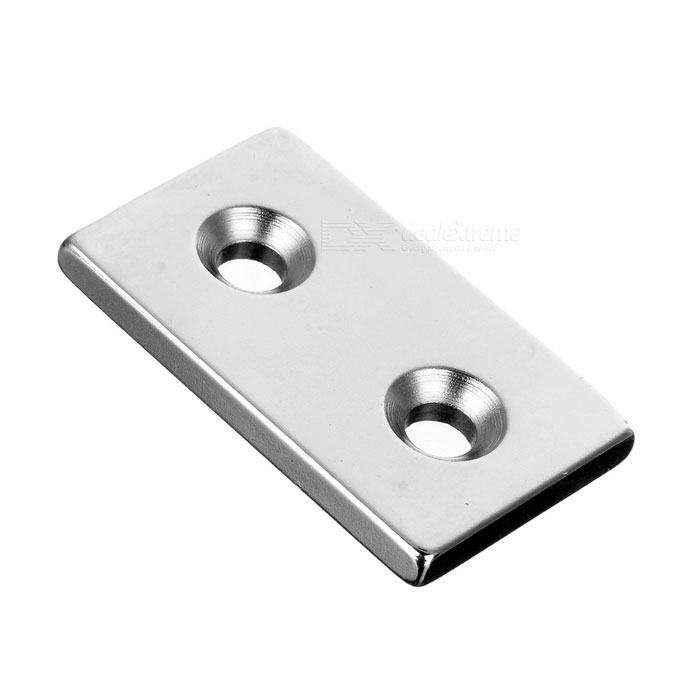 50 * 30 * 5mm Square NdFeB Magnet med 4mm Hål-silver