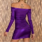 Tight-Fitting Long-Sleeve Hip Package Off Collar Lingerie - Purple (L)