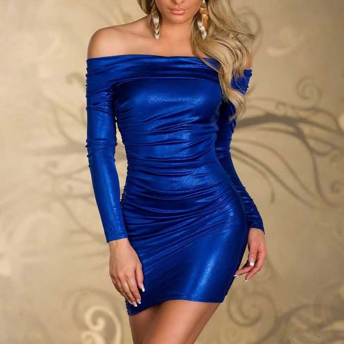Tight-Fitting Long-Sleeve Hip Package Off Collar Lingerie - Blue (XL)