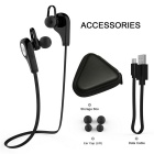 Q9 Bluetooth V4.1 Neckband Earphones Sports Headphone w/ Mic - Black
