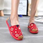 Women's Flat Old Beijing Cloth Shoes - Black + Red (Pair / Size 38)