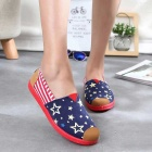 Women's Flat Old Beijing Cloth Shoes - Blue + Red (Pair / Size 37)