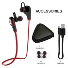 Q9 Bluetooth V4.1 Neckband Earphones Sports Headphone w/ Mic - Red