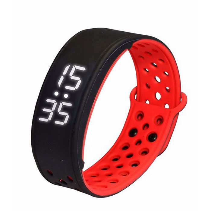 W9 Smart Wrist Sport Bracelet Pedometer Activity Tracker - Red + Black