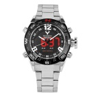 BESNEW BN-1531 Men's LED Analog Digital Sports Watch - Black + Silver