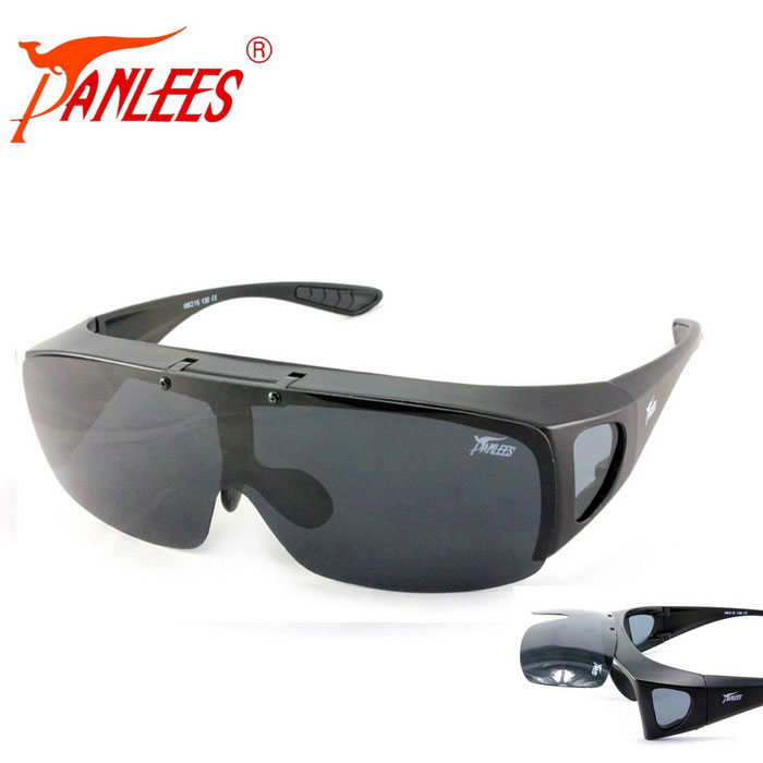 Panlees Flip Open Anti Glare Polarized Sunglasses - Grey + Matte Black