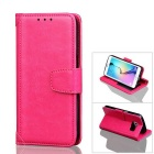 PU Leather + TPU Case for Samsung Galaxy S7 Edge - Deep Pink