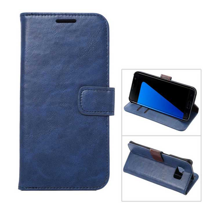 Premium PU Case w/ Card Slots for Samsung Galaxy S7 Edge - BlueLeather Cases<br>Form  ColorBlueModelN/AMaterialPU + PCQuantity1 DX.PCM.Model.AttributeModel.UnitShade Of ColorBlueCompatible ModelsSamsung Galaxy S7edgePacking List1 x Case<br>