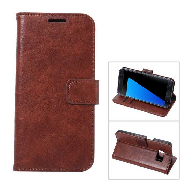 Premium PU Leather + PC Wallet Case for Samsung Galaxy S7 - Brown