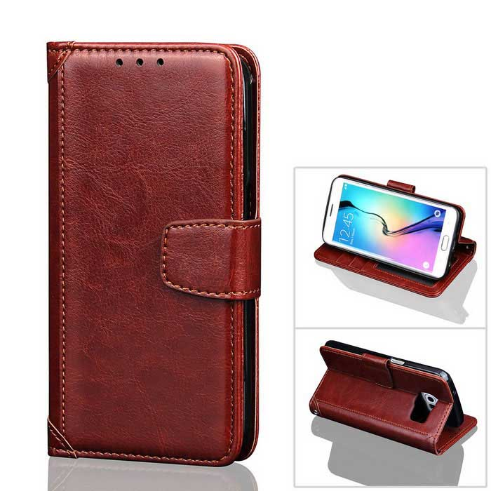 PU Leather + PC Case for Samsung Galaxy S7 - Brown