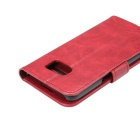Premium PU Case w/ Card Slots for Samsung Galaxy S7 Edge - Red