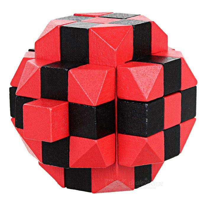 Wooden Brain Teaser Ball Lock IQ Puzzle Educational Toy - Red + Black