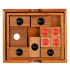 Wooden Klotski Sliding Brain Teaser Puzzle Game Educational Toy - Wood Color + Red