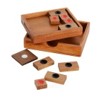 Wooden Klotski Sliding Puzzle Educational Toy - Wood Color + Red