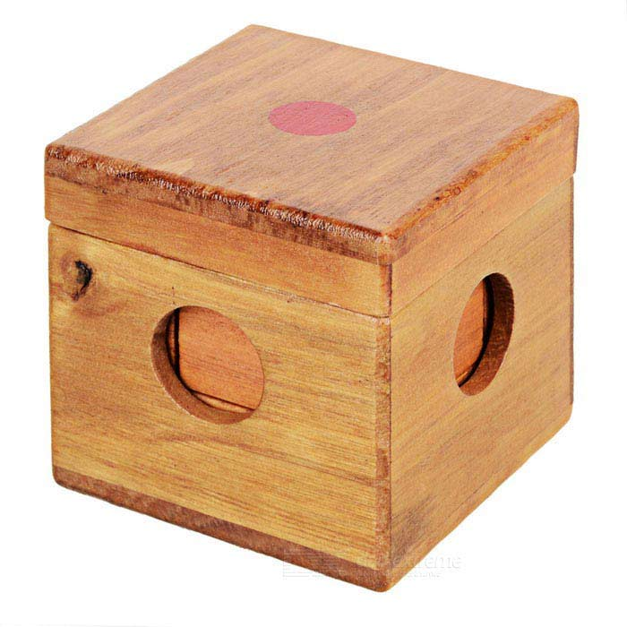 Assembling Rubber Wood Cube Cuboid Educational Toy Set - Red + Brown
