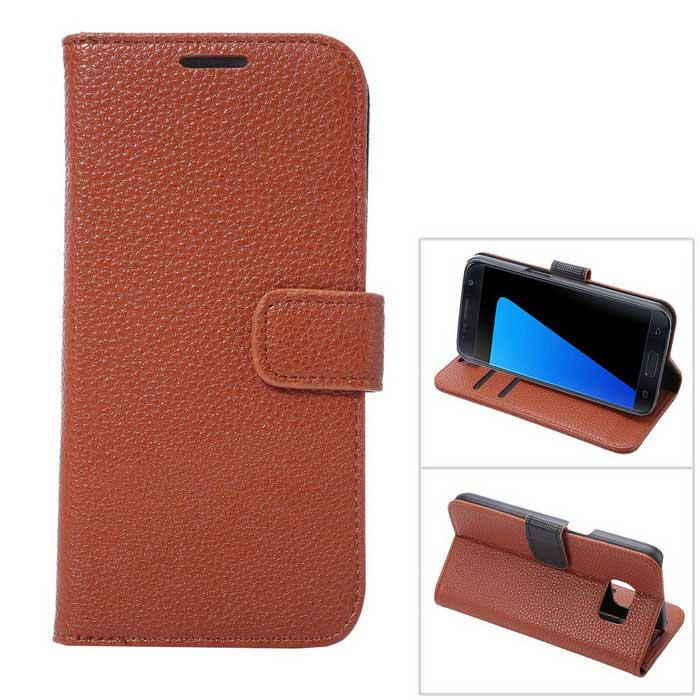 Flip Cover Luxury PU Leather Wallet Case w/ Card Slots / Stand for Samsung Galaxy S7 Edge - Brown