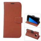 PU Full Body Case w/ Stand for Samsung Galaxy S7 Edge - Brown