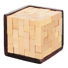 Wooden Brain Teaser T-Shaped Tetris Blocks Geometric Puzzle Educational Toy - Wood Color + Brown
