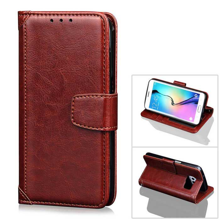 Protective Photo Frame Style PU Case w/ Stand / Lanyard for Samsung Galaxy S7 Edge - Coffee