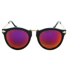 Women's UV400 Protection Round Red REVO Lens Sunglasses - Black