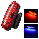 USB Powered Red + Blue Light 15-LED Bike Tail Light w/ Clip - Red + White
