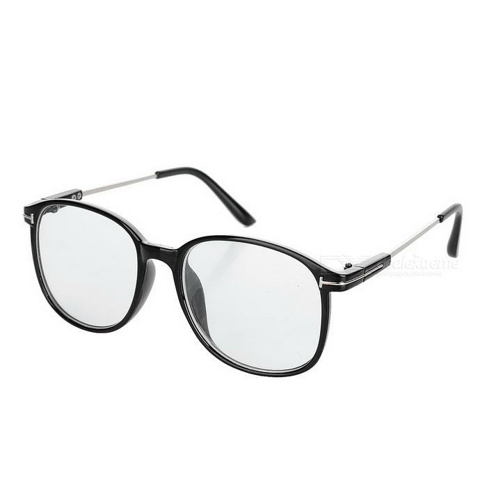 Women's Retro Round PC Frame Plain Glasses Spectacles - Black