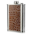 AoTu Outdoor Portable Stainless Steel Hip Flask - Silver + Brown (8oz)