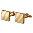 Men's Fashionable Jewelry Brass Material Lattice Pattern Cufflinks - Golden (Pair)