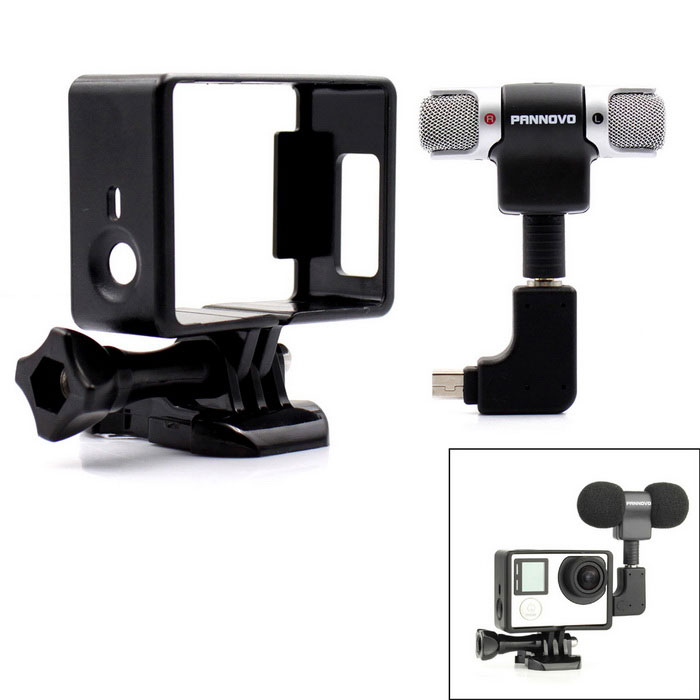 3.5mm Plug Mini Stereo Microphone w/ Frame for GoPro - Black + Silver
