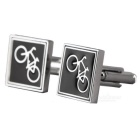 Men's Bicycle Design Cufflinks - Silver + Black (Pair)