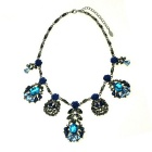 IN-Color Women's Blue Flower Series Pendant Necklace - Blue + Black