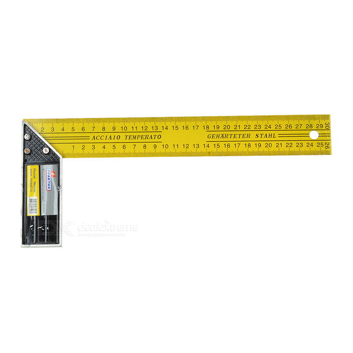 Multifunctional L Shape Right Angle Ruler - Silver + Yellow (300mm)