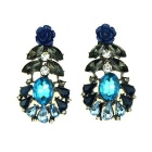 IN-Color Fashion Blue Flower Series Pendant Earrings - Blue + Grey + Multicolor (Pair)