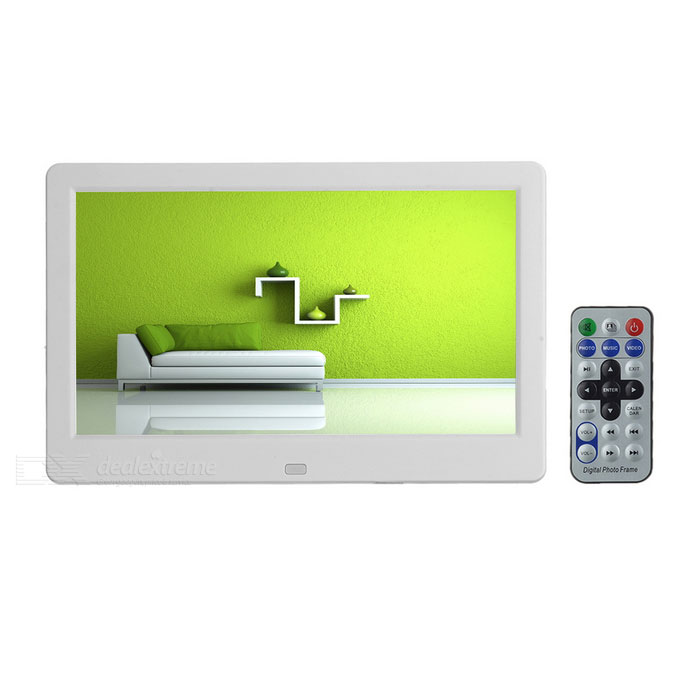 "10.1 ""TFT Digital Photo Frame w / Time Display, Calendário - Branco"