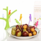 Vogels op de Boom Ontwerp Fruit Forks Set - Light Green + Multi-Color