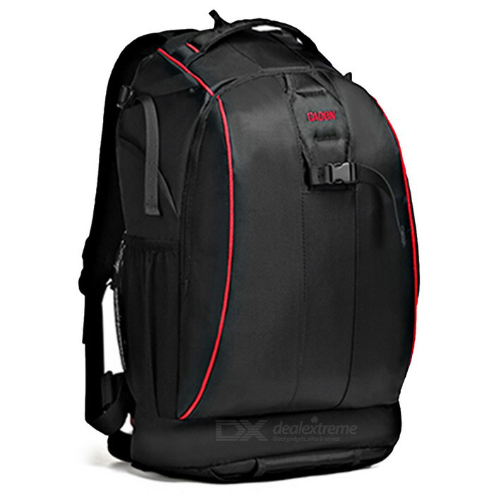 CADEN K7 Camera Shoulders Bag Backpack w / Rain Cover - Preto + Vermelho