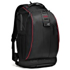 CADEN K7 Nylon DSLR Camera Storage Shoulders Bag Backpack w/ Rain Cover - Black + Red