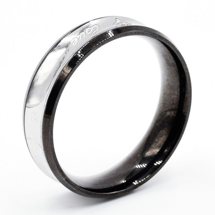 Unisex Fashionable Letters Pattern 316L Stainless Steel Ring - Black + Silver (US Size 9)