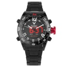 BESNEW BN-1531 Men's Stainless Steel Strap LED Analog Digital Watch - Black + White (1*CR2016)