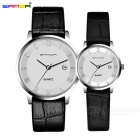 SANDA Calfskin Strap Couple Watches - Black + White (2*SR626SW / Pair)
