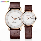 SANDA Calfskin Strap Couple Watches - Coffee + White (2*SR626SW, Pair)