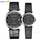 SANDA Calfskin Strap Couple Watches - Black (2*SR626SW / Pair)