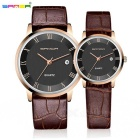 SANDA Japanese Movement Calfskin Strap Couple Watches w/ Calendar - Black + Coffee (2*SR626SW, Pair)