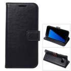 Premium PU Leather Wallet Case w/ Stand / Card Slots for Samsung Galaxy S7 Edge - Black