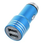 Dual USB Stainless Steel Car Power Charger / Emergency Hammer - Blue