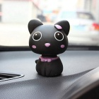 ZIQIAO Car Lovely Head Shaking Cat Decoration - Black + Purple