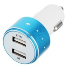 2.1A / 1A Dual USB Car Power Charger - White + Blue