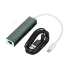 3-USB 3.1 Type-C to MB Network Port HUB w/ Charging Cable - Dark Grey