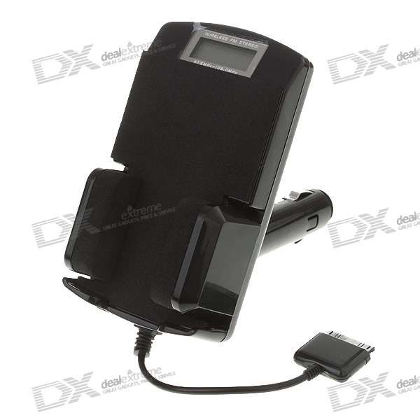 "7-in-1 1.1"" LCD FM Transmitter Charger and Holder for iPad Nano 1~4G/iPhone 2G/3G (87.5~108MHZ)"