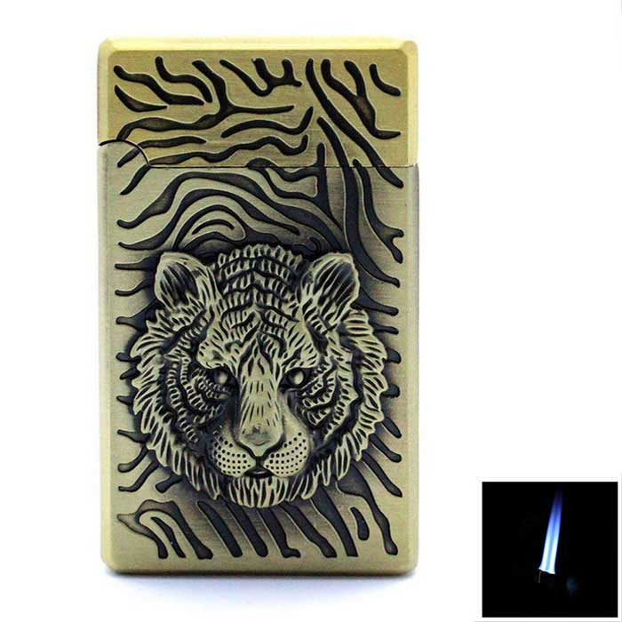 Lion's Head Relief Design 2-Flame Butane Gas Lighter - Bronze